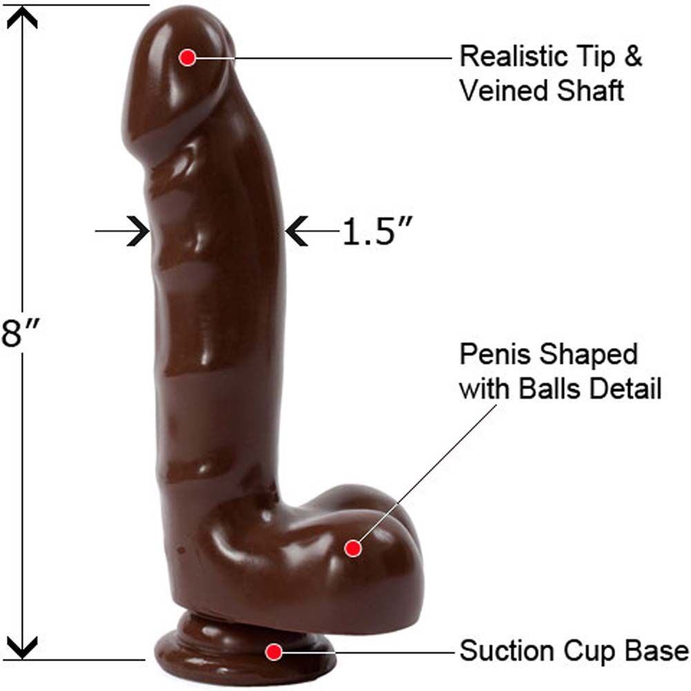 "Espresso Line Cock with Suction Cup and Balls 8"" Ebony - View #1"