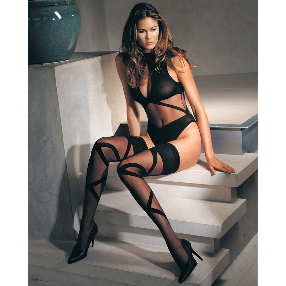 Opaque Sheer Halter Bodysuit With Stockings One Size Black - View #3