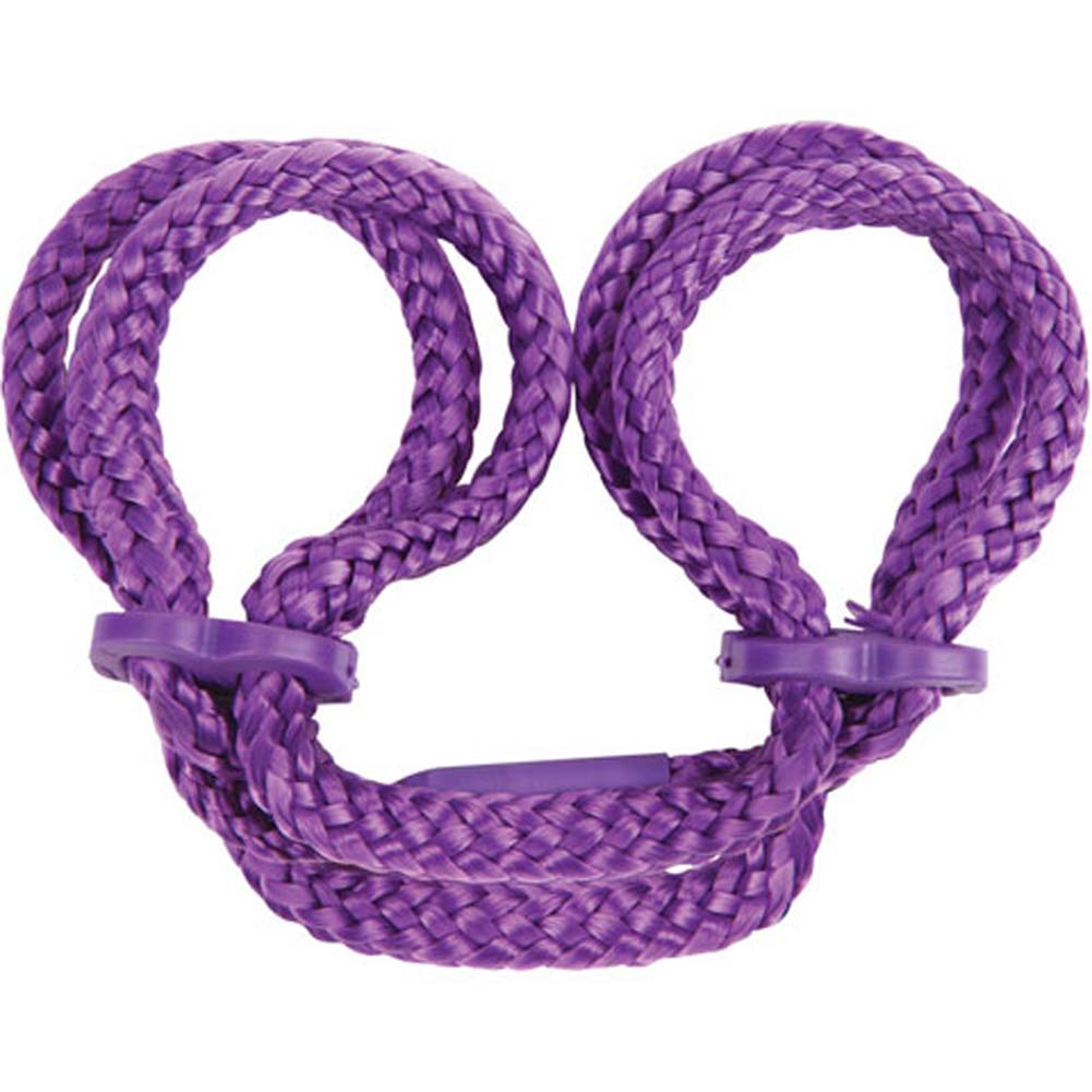Japanese Silk Love Rope Ankle Cuffs Purple - View #1