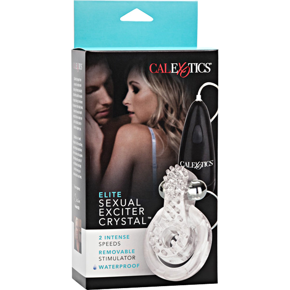 California Exotics Elite Sexual Exciter Crystal Vibrating Cock Ring Clear - View #4