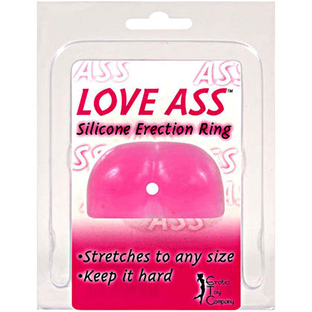 Love Ass Silicone Erection Ring Pink - View #2