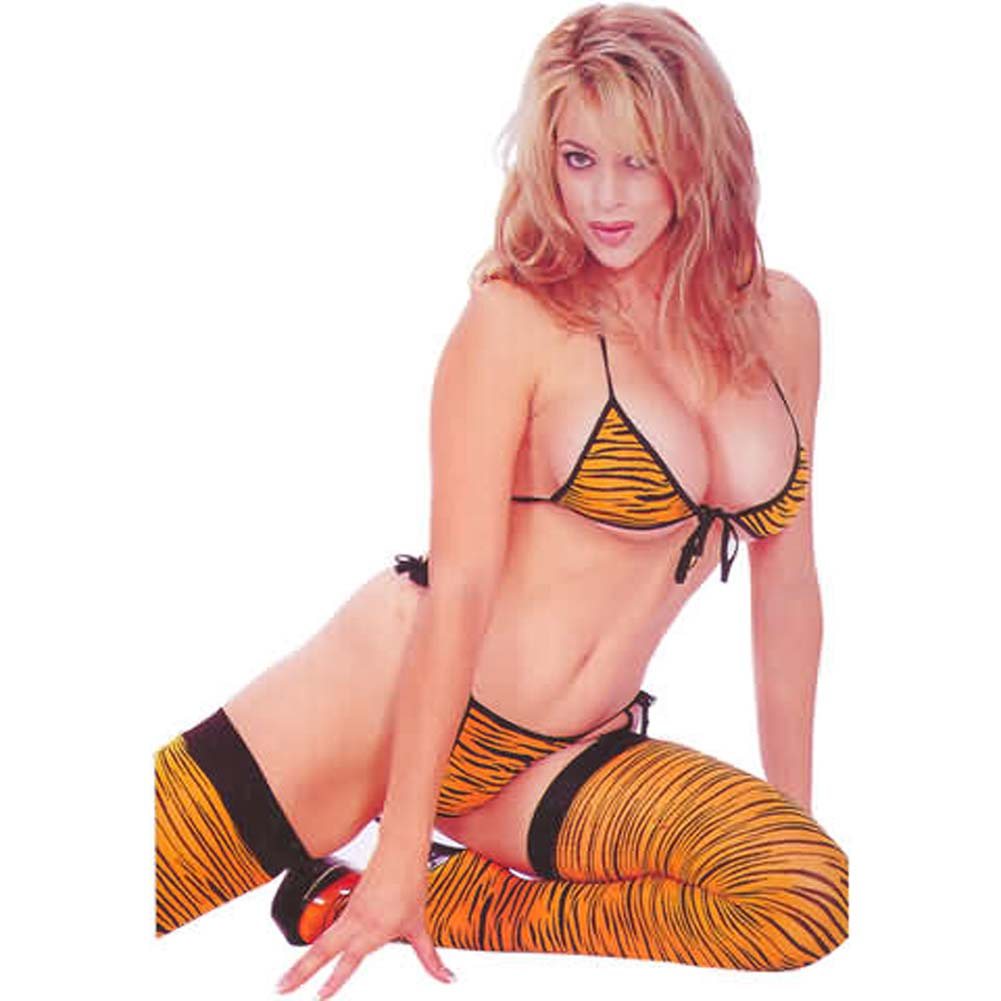 Zebra Bra and Thong with Thigh Hi Orange and Black - View #1