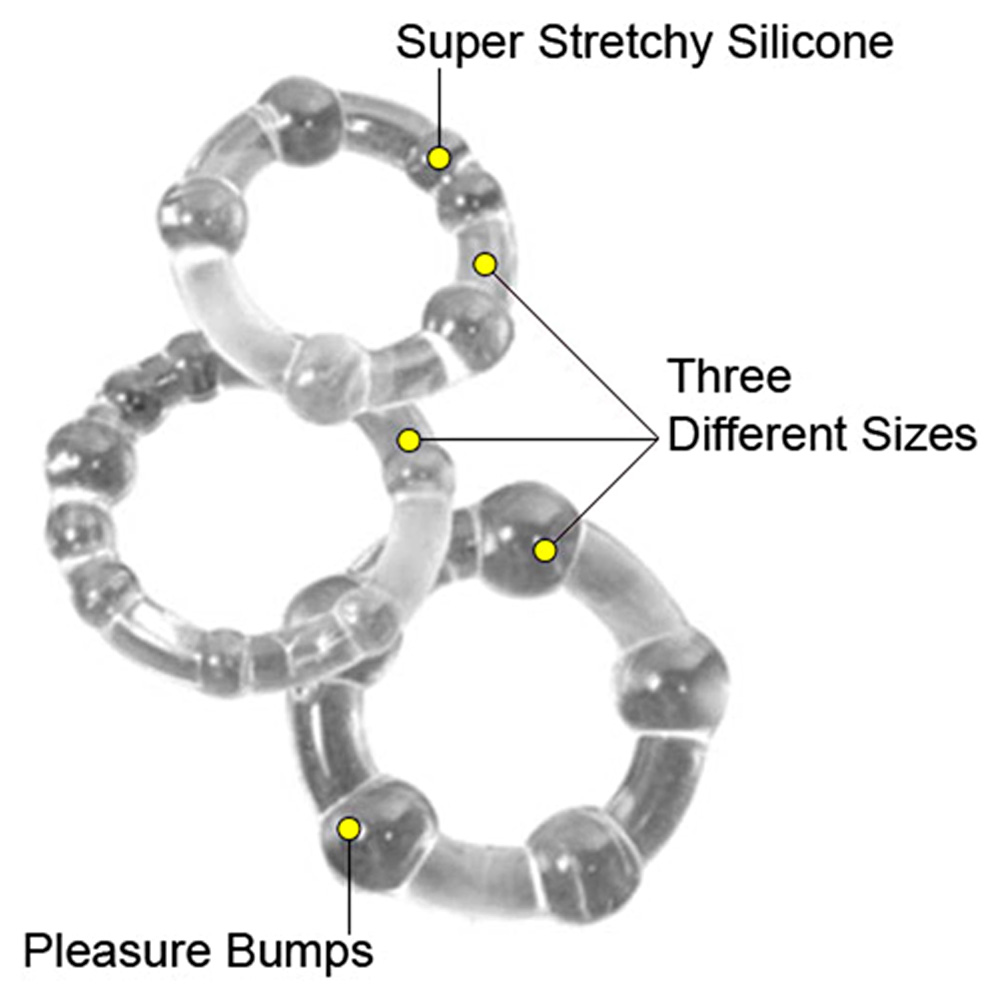 Island Silicone Rings 3 Sizes Clear - View #1