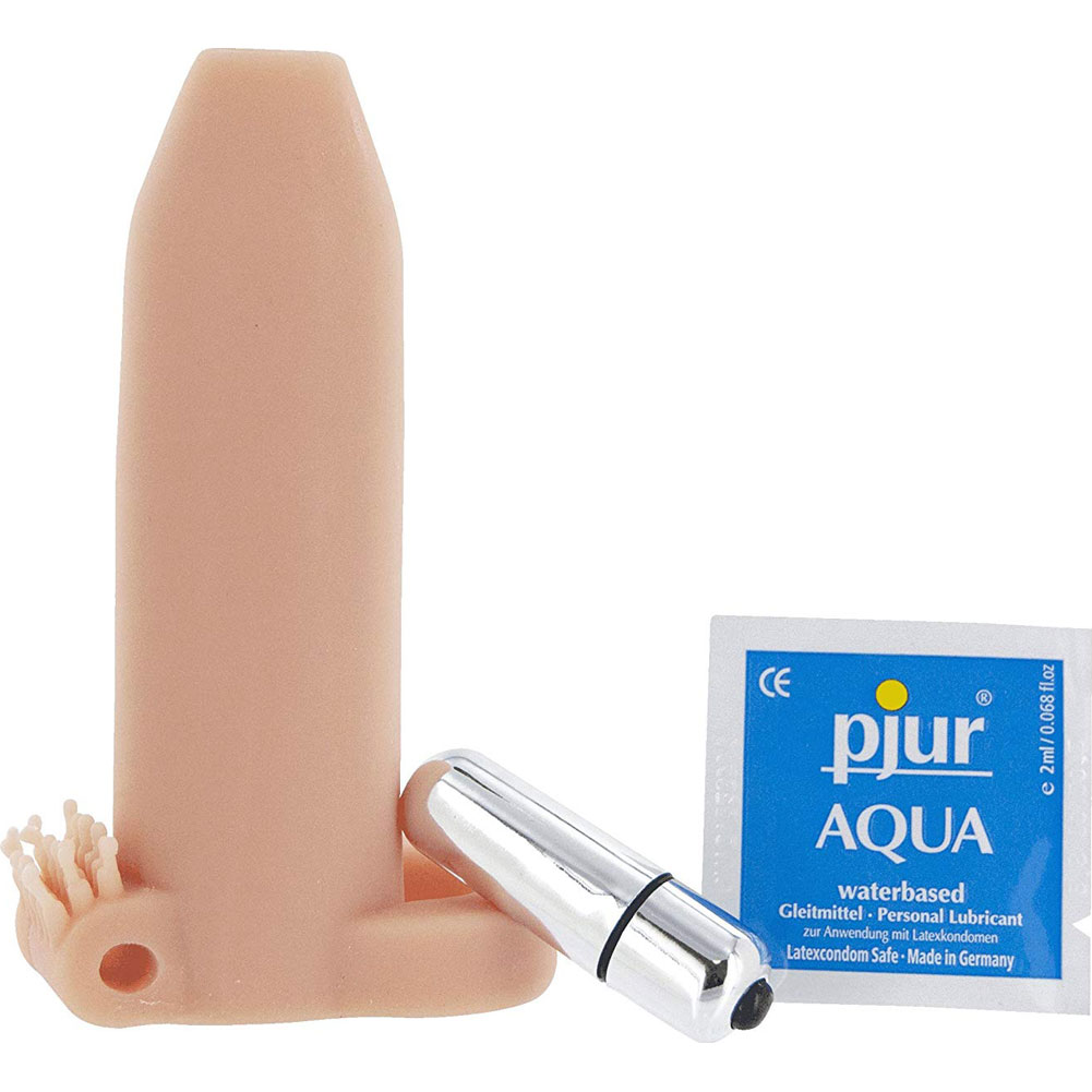 "Doctor Loves Deemun Vibrating Penis Girth Enhancer 1.5"" Extra Natural Flesh - View #2"