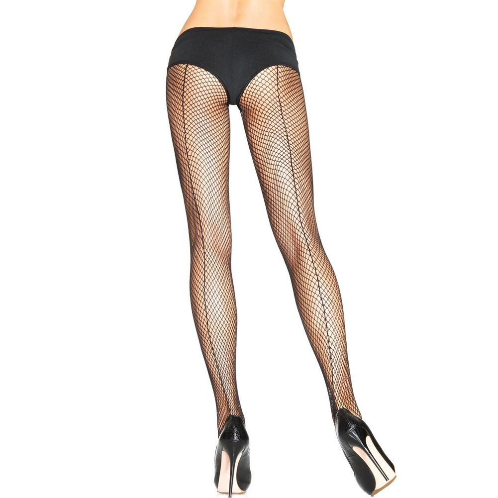 Fishnet Back Seam Pantyhose One Size Black - View #1