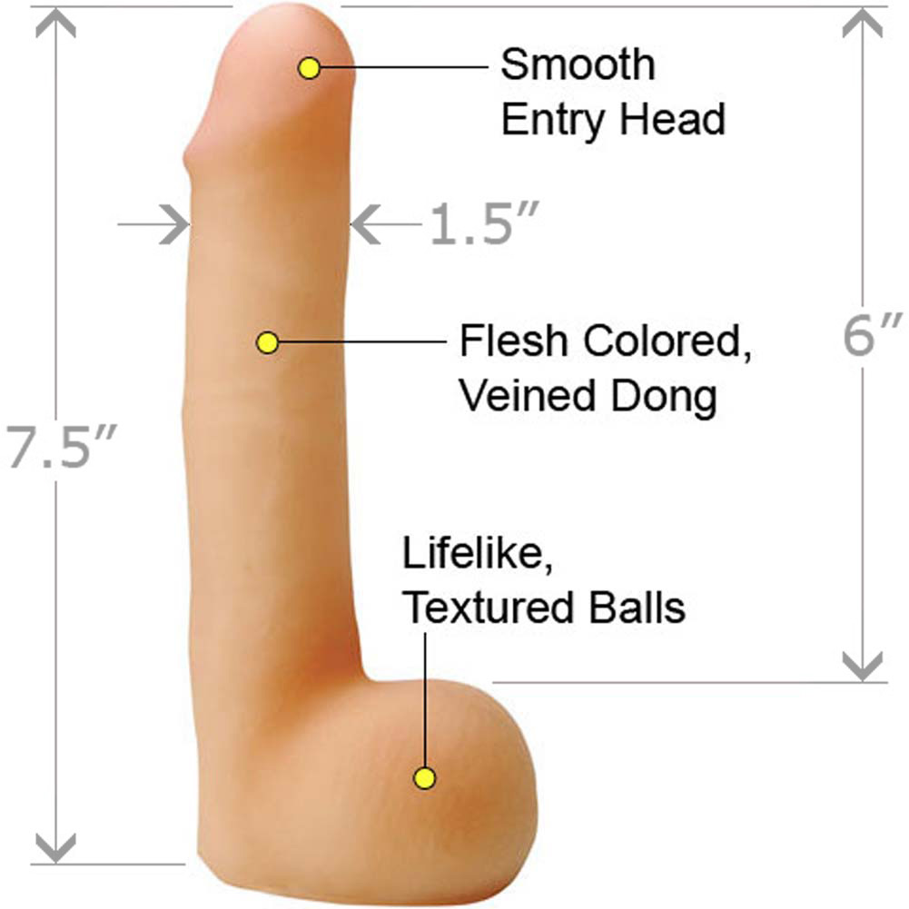 "CyberSkin Cyber Cock with Balls Slimline 7.5"" Natural - View #1"
