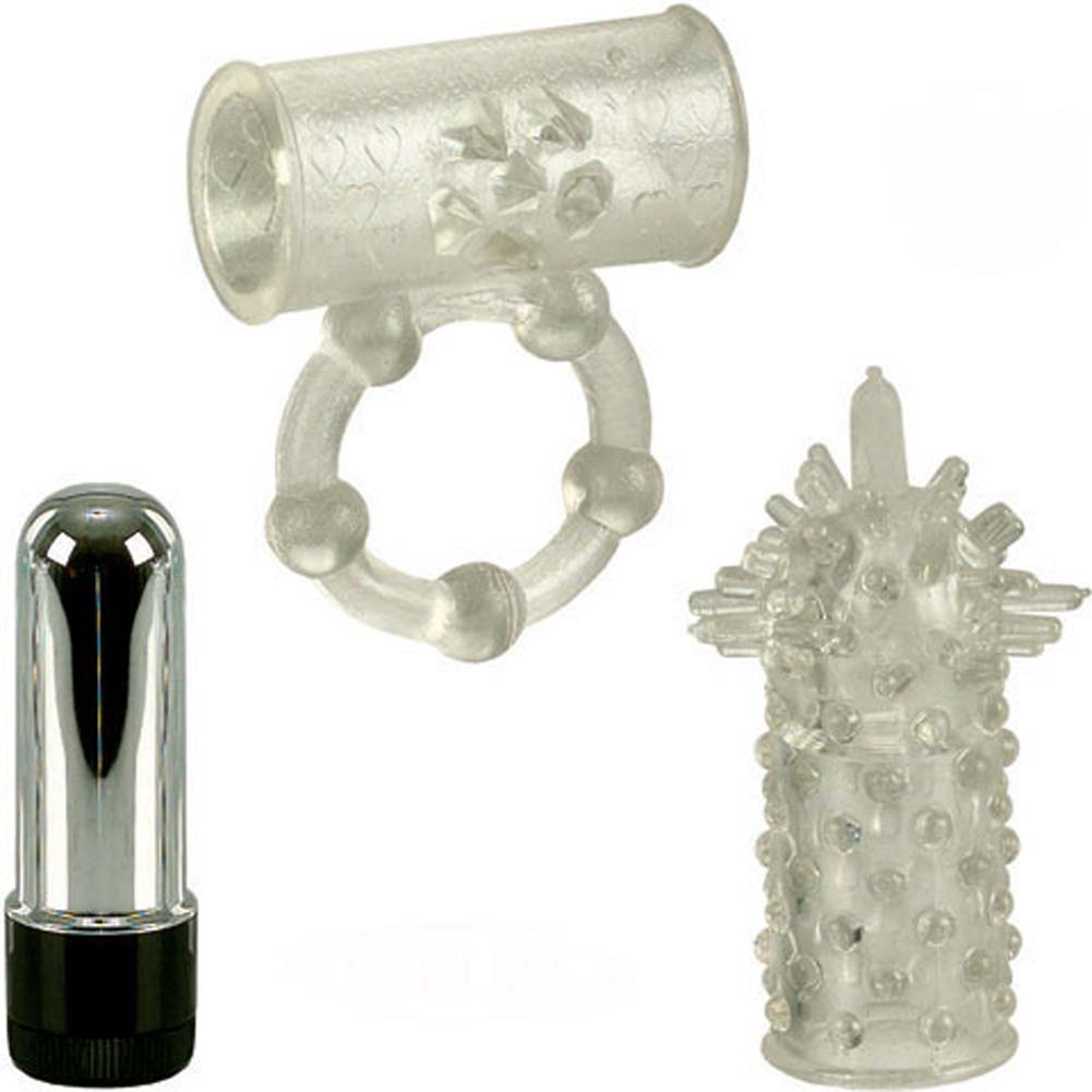 California Exotics Pleasure Duo Cordless Couples Kit with Vibrating Ring Clear - View #2