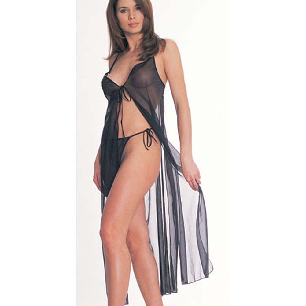 Tie Front Sheer Gown withThong - View #1