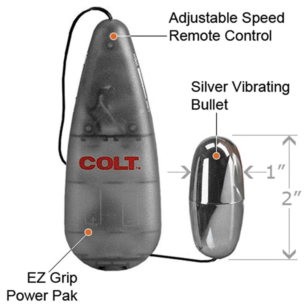 "COLT by CalExotics Multi-Speed Power Pak Bullet Vibrator 2"" Silver - View #1"