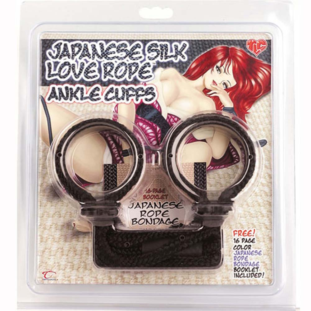 Japanese Silk Love Rope Ankle Cuffs Black - View #3