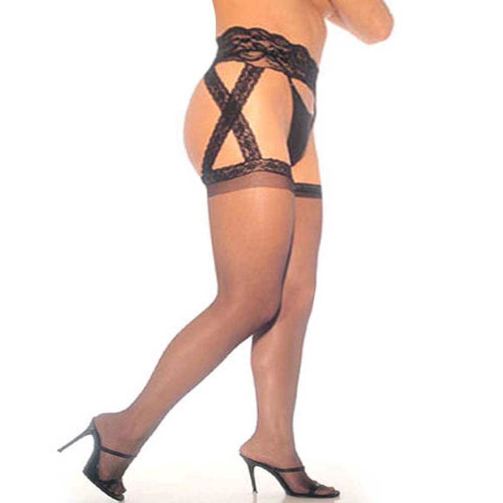 Sheer Garter Belt Pantyhose Black Plus Size - View #1