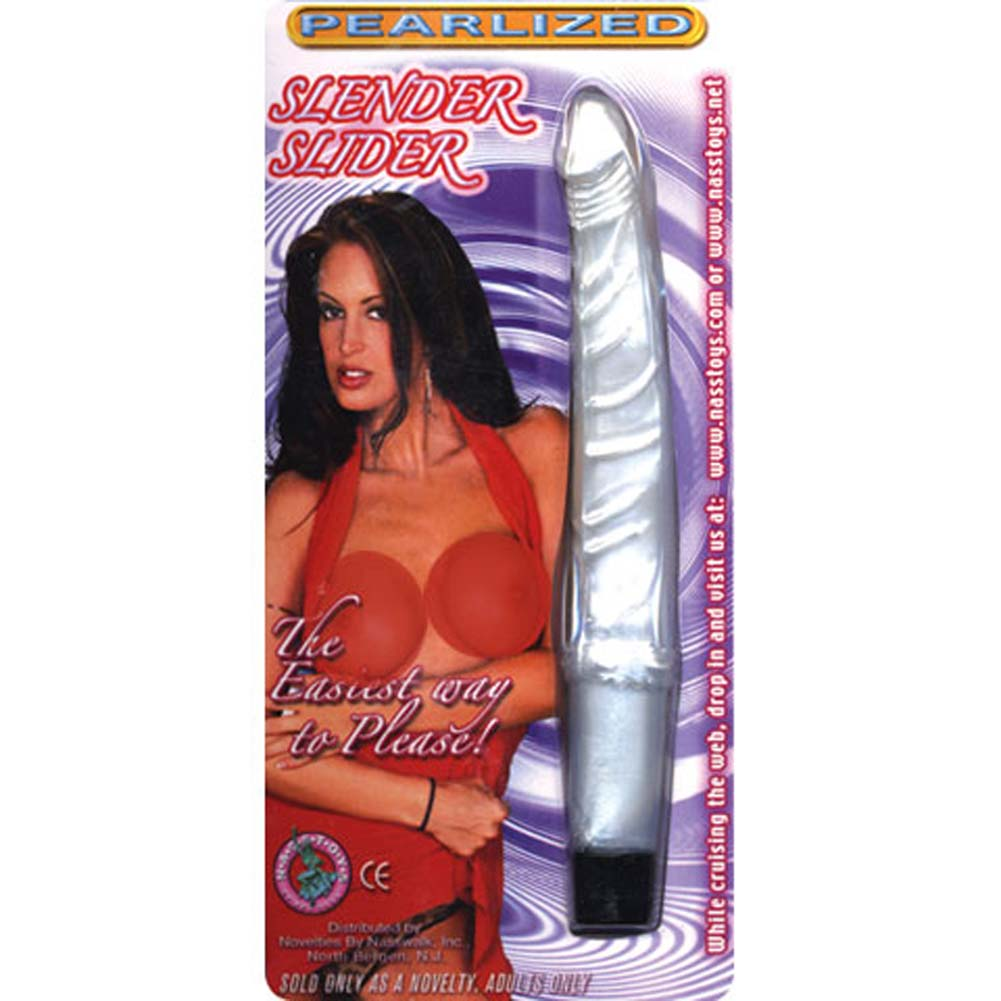 Pearlized Vibrating Slender Slider White 5.75 In. - View #1