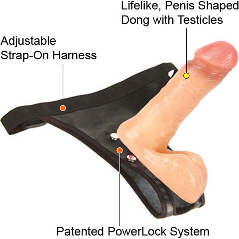 PowerLock Harness with Cock and Balls Natural 7 In. - View #2