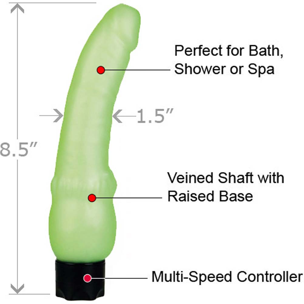 "California Exotics Waterproof Glow in the Dark Vibrating Stud 8.5"" Mint - View #1"