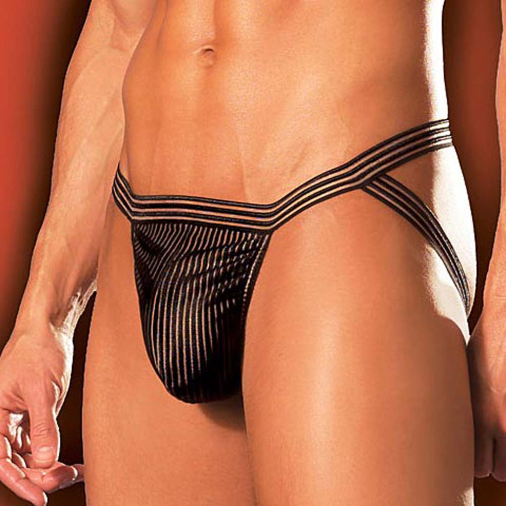 Black Stripe Posing Strap With Rear Elastic - View #2