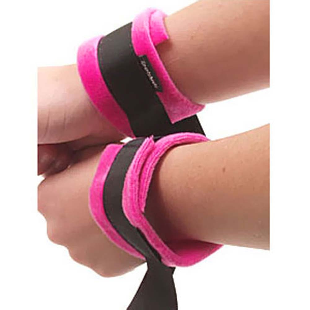 Sportsheets Kinky Pinky Cuffs with Tethers Pink and Black - View #1