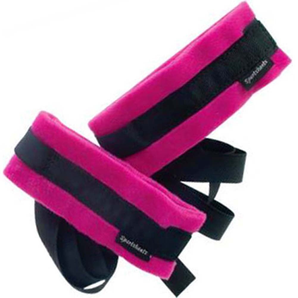 Sportsheets Kinky Pinky Cuffs with Tethers Pink and Black - View #3