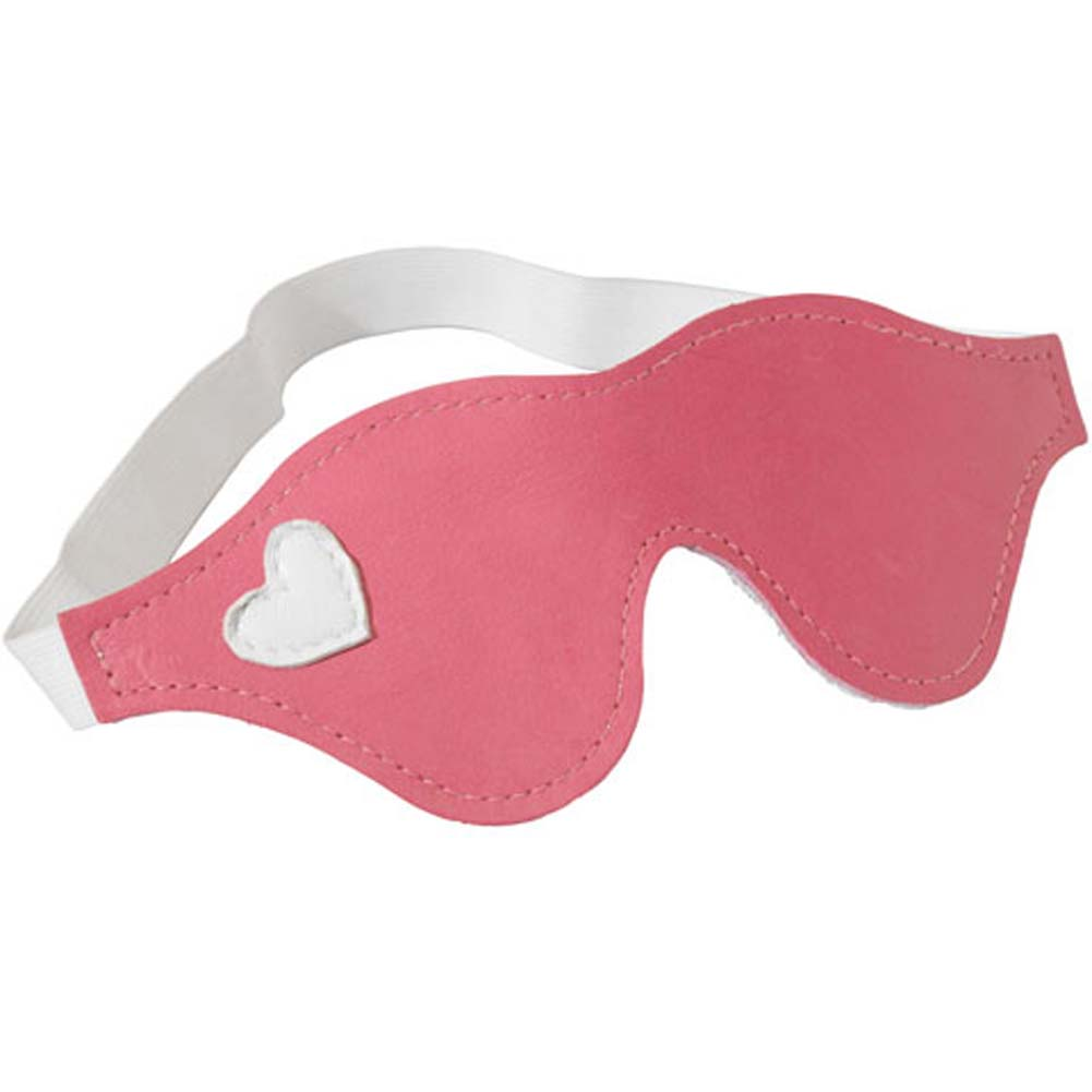 Leather Blindfold Pink with White Heart - View #1