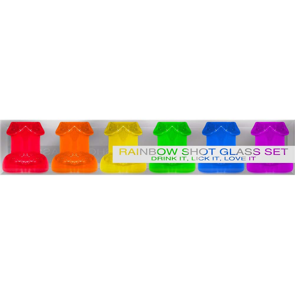 Penis Shaped Rainbow Shot Glasses Pack of 6 - View #4