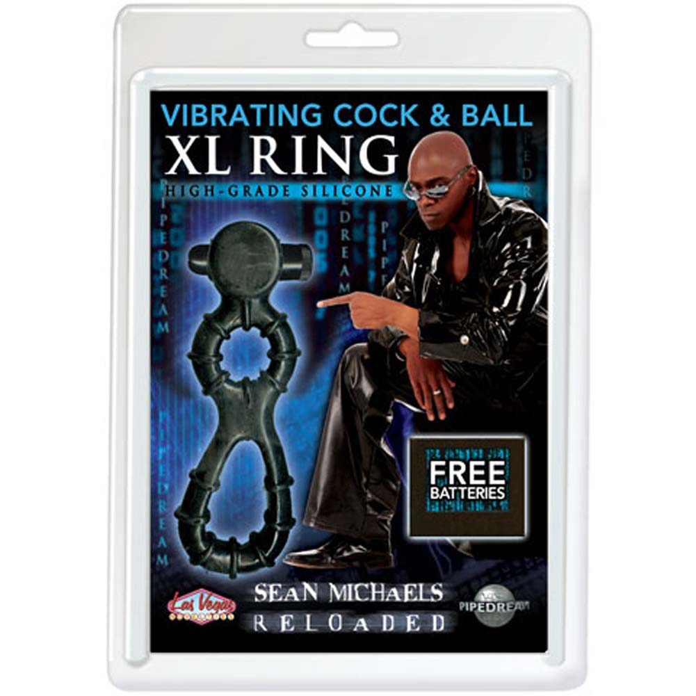 Sean Michaels Reloaded Vibrating Cock and Ball XL Ring Black - View #1