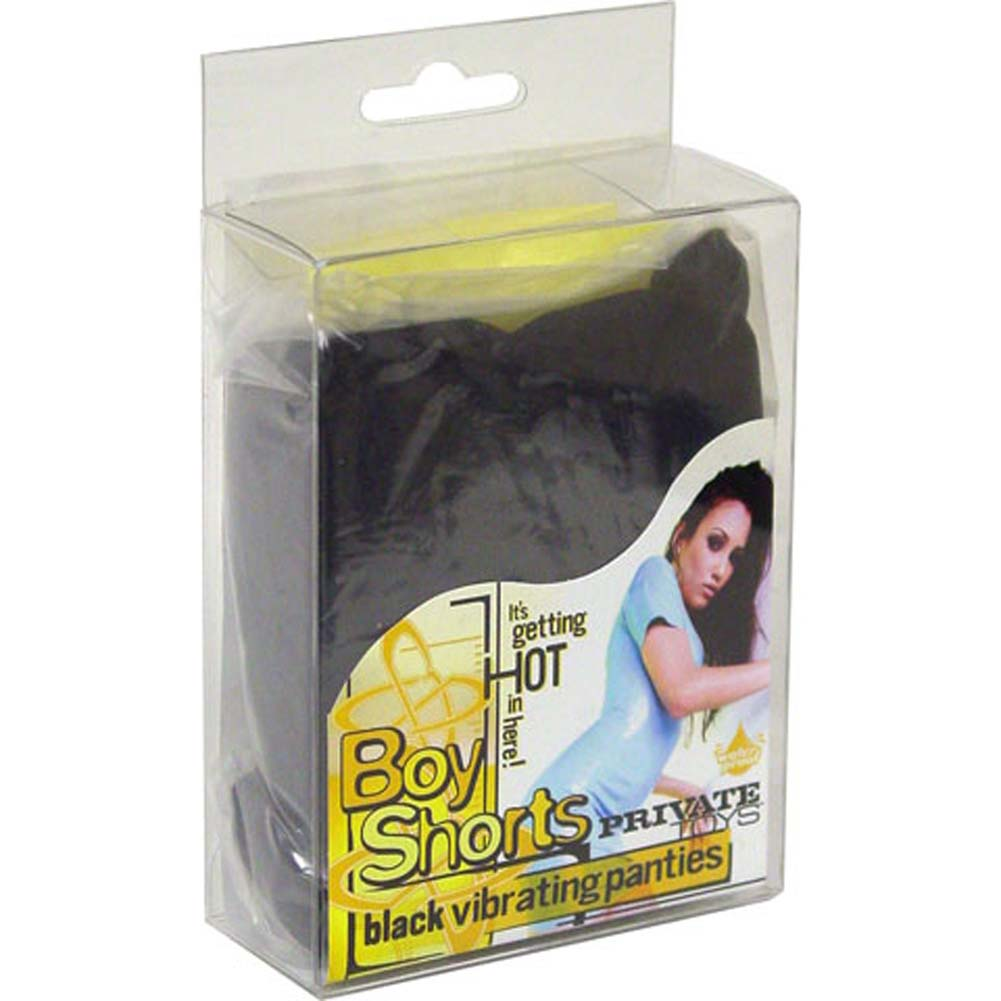 Boy Shorts Vibrating Panties Black Large to X Large Size - View #1