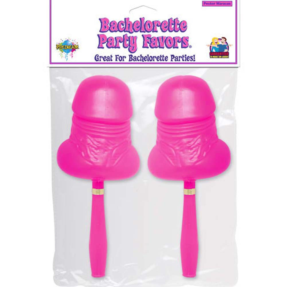 "Bachelorette Party Pecker Maracas 8.5"" Pink Set of 2 - View #1"