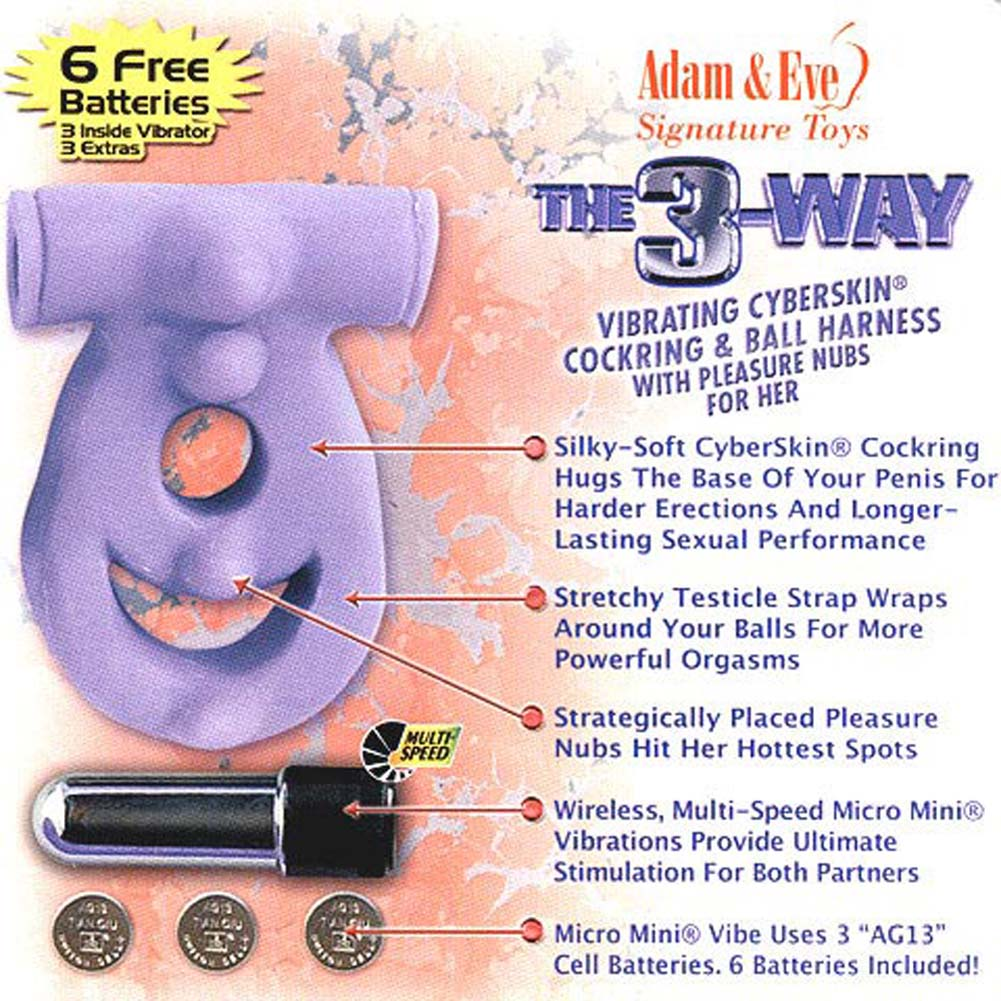 3 Way Vibrating CyberSkin Cockring and Ball Harness. - View #3