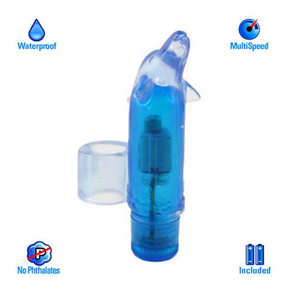 Waterproof Finger Fun Dolphin Vibe Blue 3.25 In. - View #2