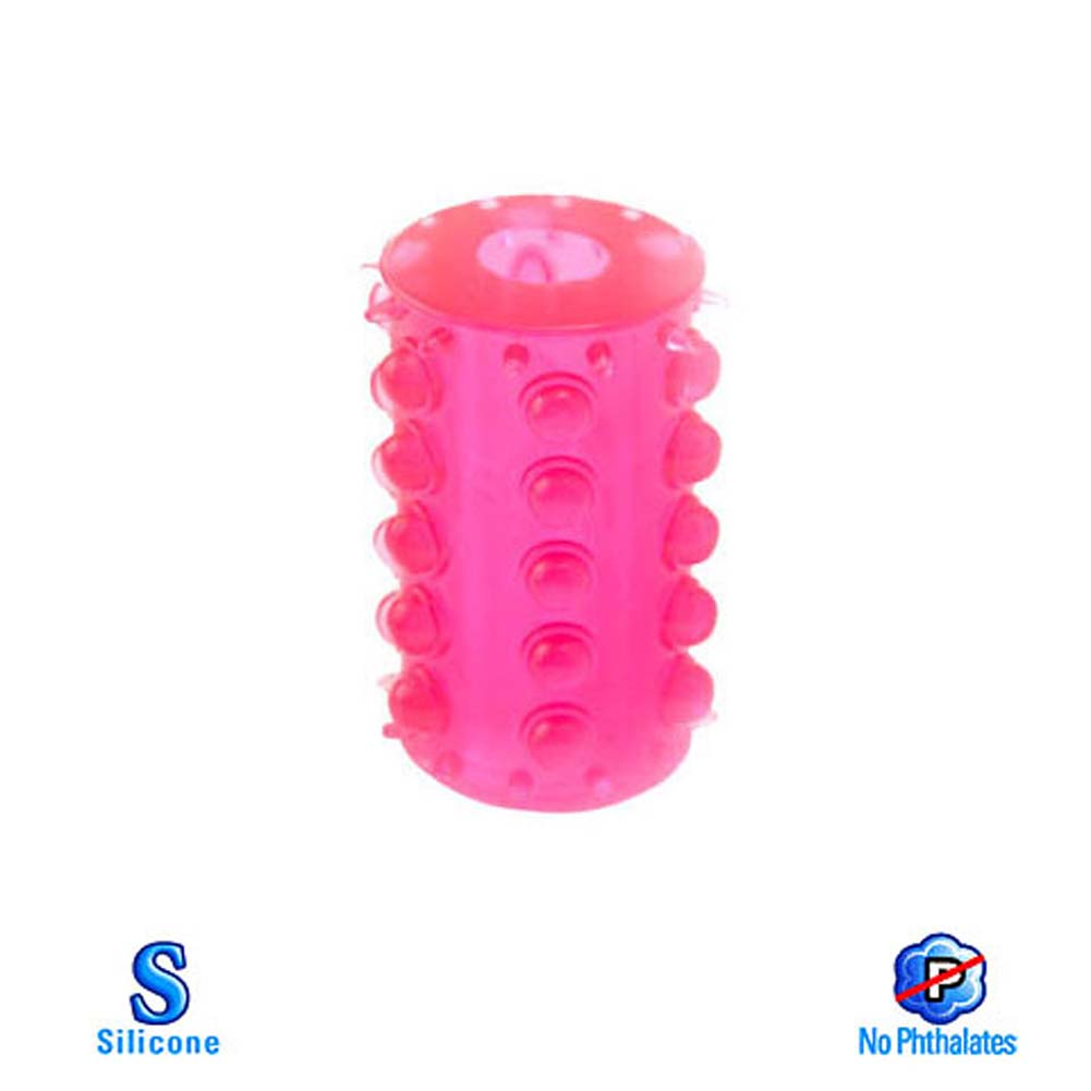 Mega Stretch Silicon Girth Gainer Plus Cock Ring Pink 2.5 In - View #2