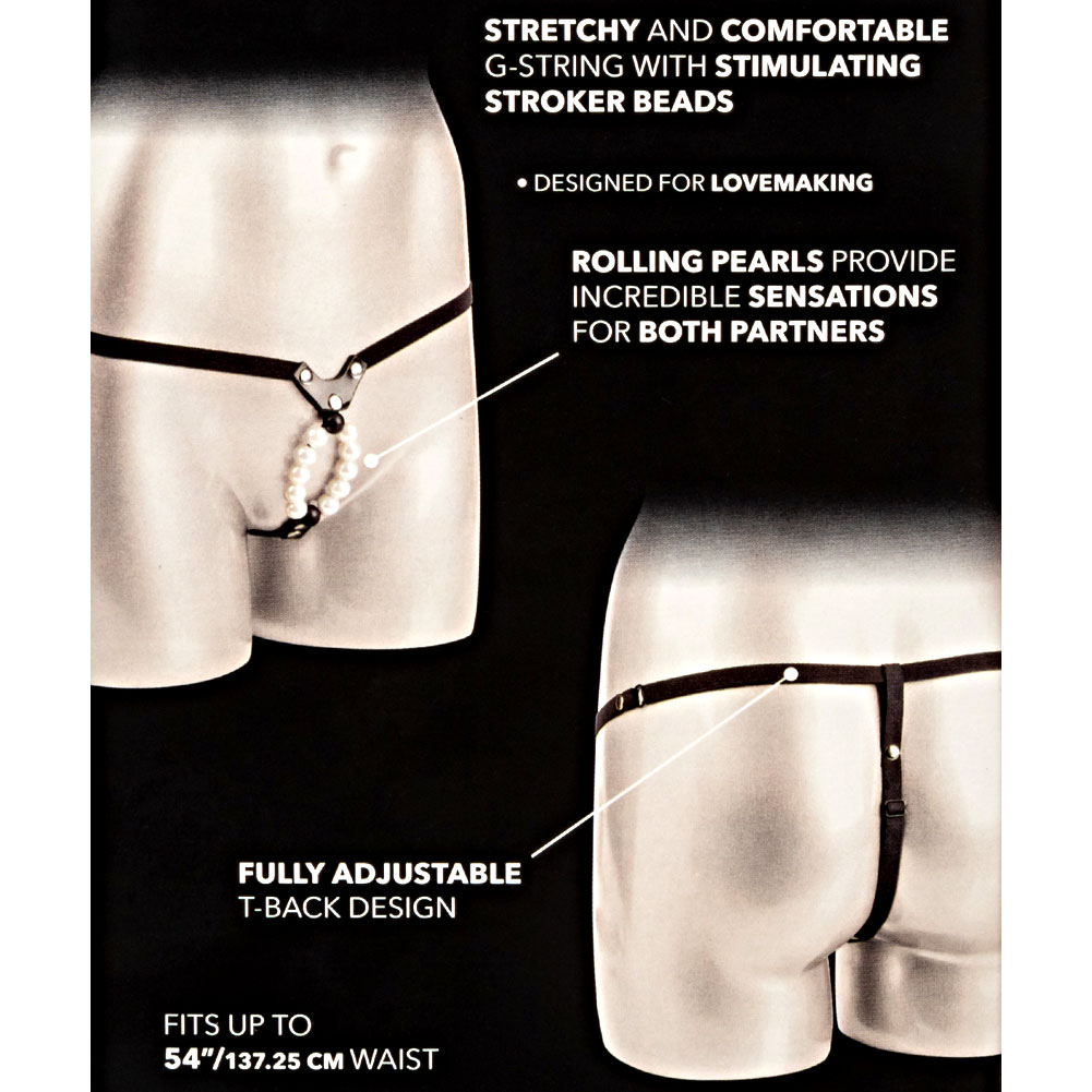 CalExotics Lovers G-String with Stroker Pleasure Beads One Size White Pearls - View #3