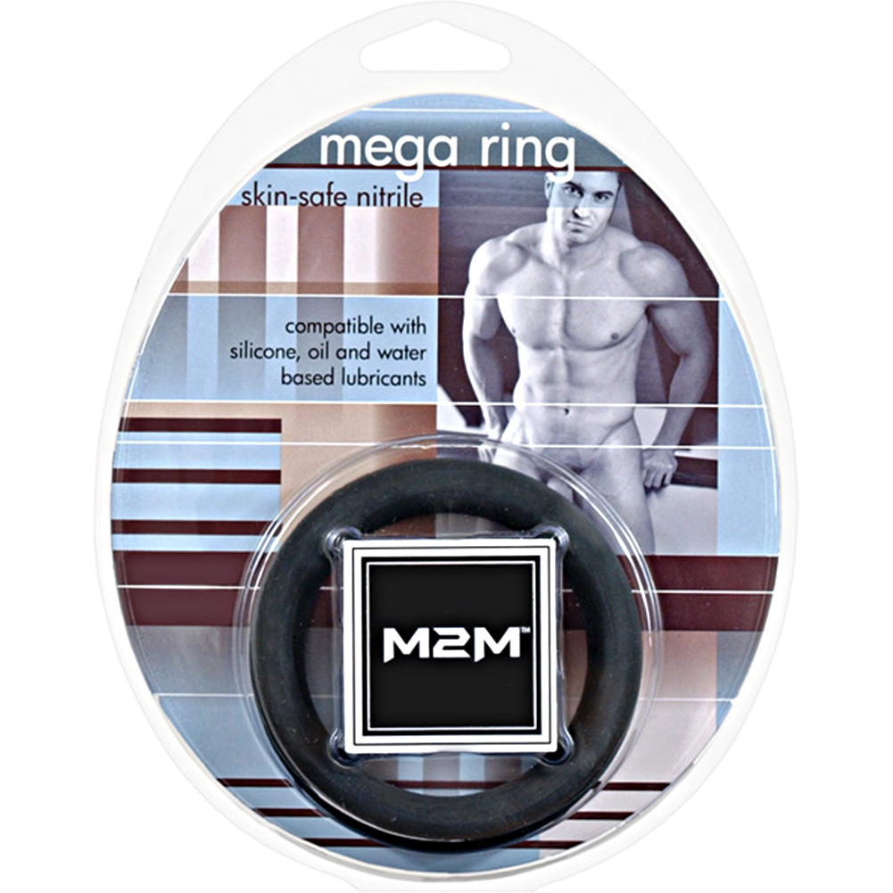 "M2M Mega Nitrile Cockring Large 2"" Black - View #1"