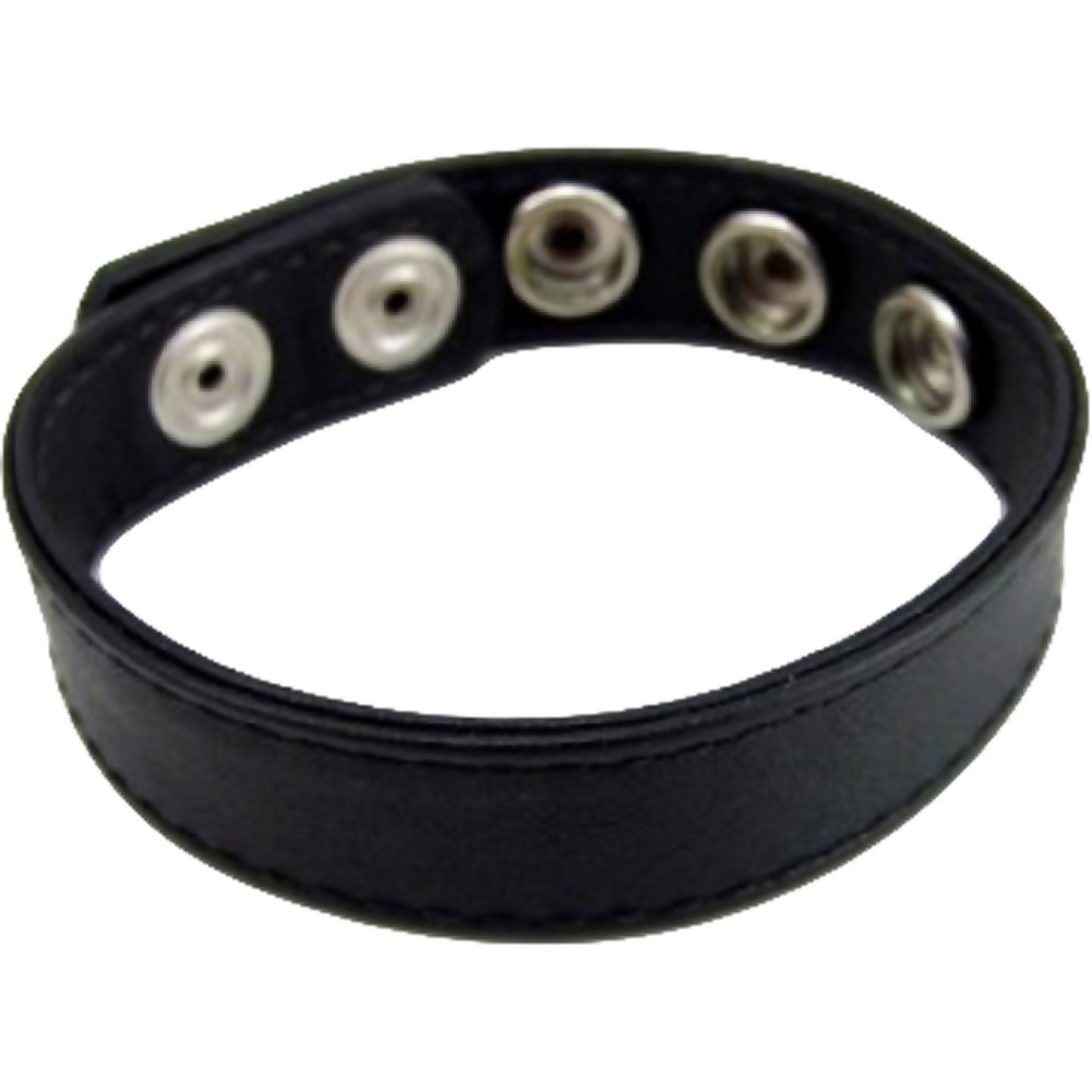 M2M 5 Snap Leather Cockring Black - View #3