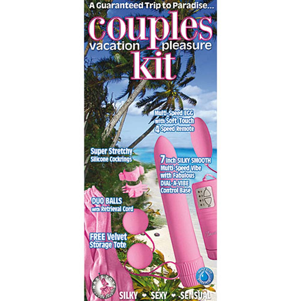 Couples Vacaton Silicone Pleasure Kit with Vibe Pink 8 In. - View #2