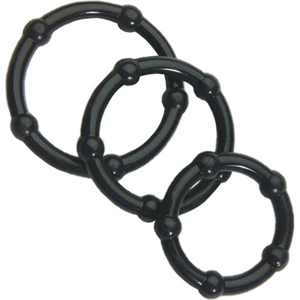 Lex Steele Big Man XL 3 Piece Cock Ring Set Black - View #1