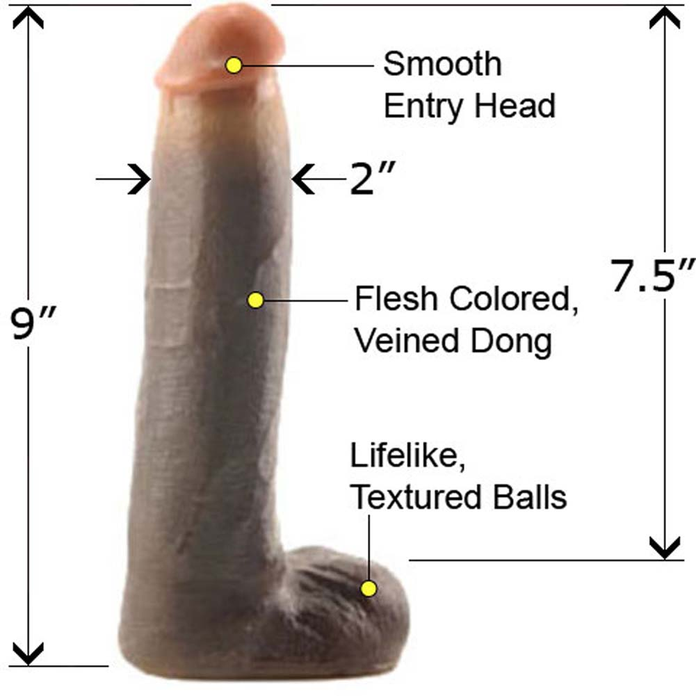 "Lex Steele PowerLock Cock with Balls 9"" Ebony - View #1"