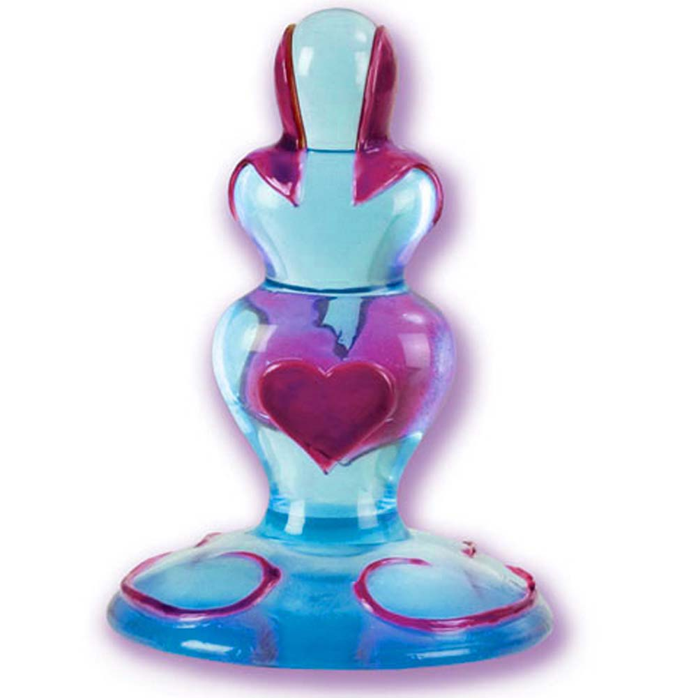 Hearts of Love Jelly Butt Plug Blue 4.5 In. - View #2