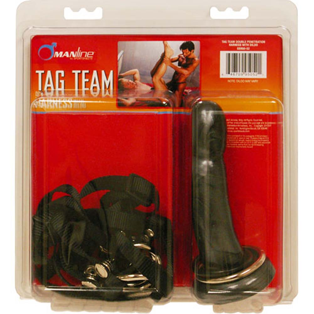 Tag Team Double Penetration Harness with Dildo and 3 O/Rings - View #4