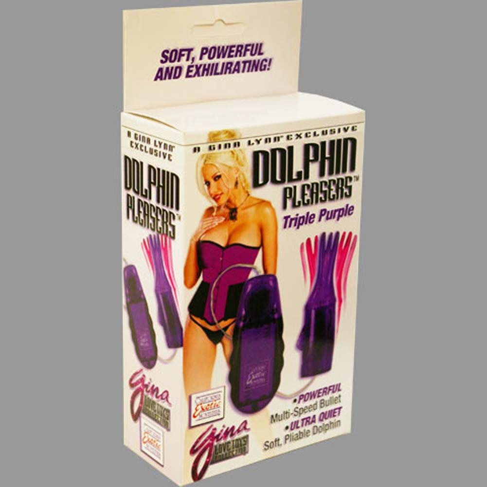 "Gina Lynn Dolphin Pleasers Triple Jelly Vibe 4.25"" Lilac - View #3"