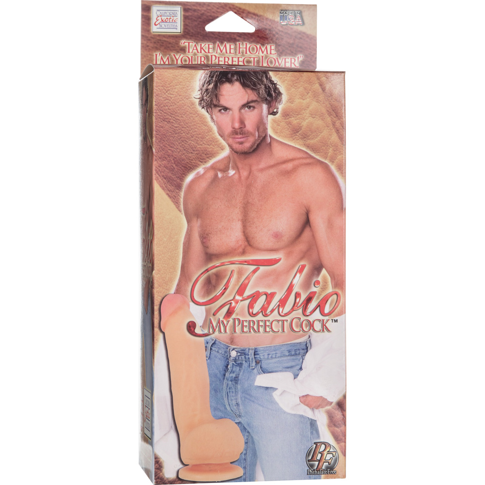 "California Exotics Fabios My Perfect Cock Futurotic Suction Cup Dong 8.75"" Natural Flesh - View #4"
