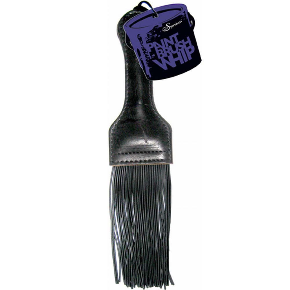 Sportsheets Paint Brush Whip with Leather Handle Black - View #2