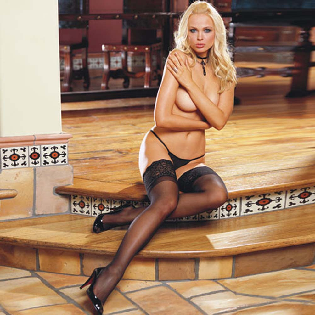 Wide Lace Top Stay Up Sheer Thigh Highs Black - View #1