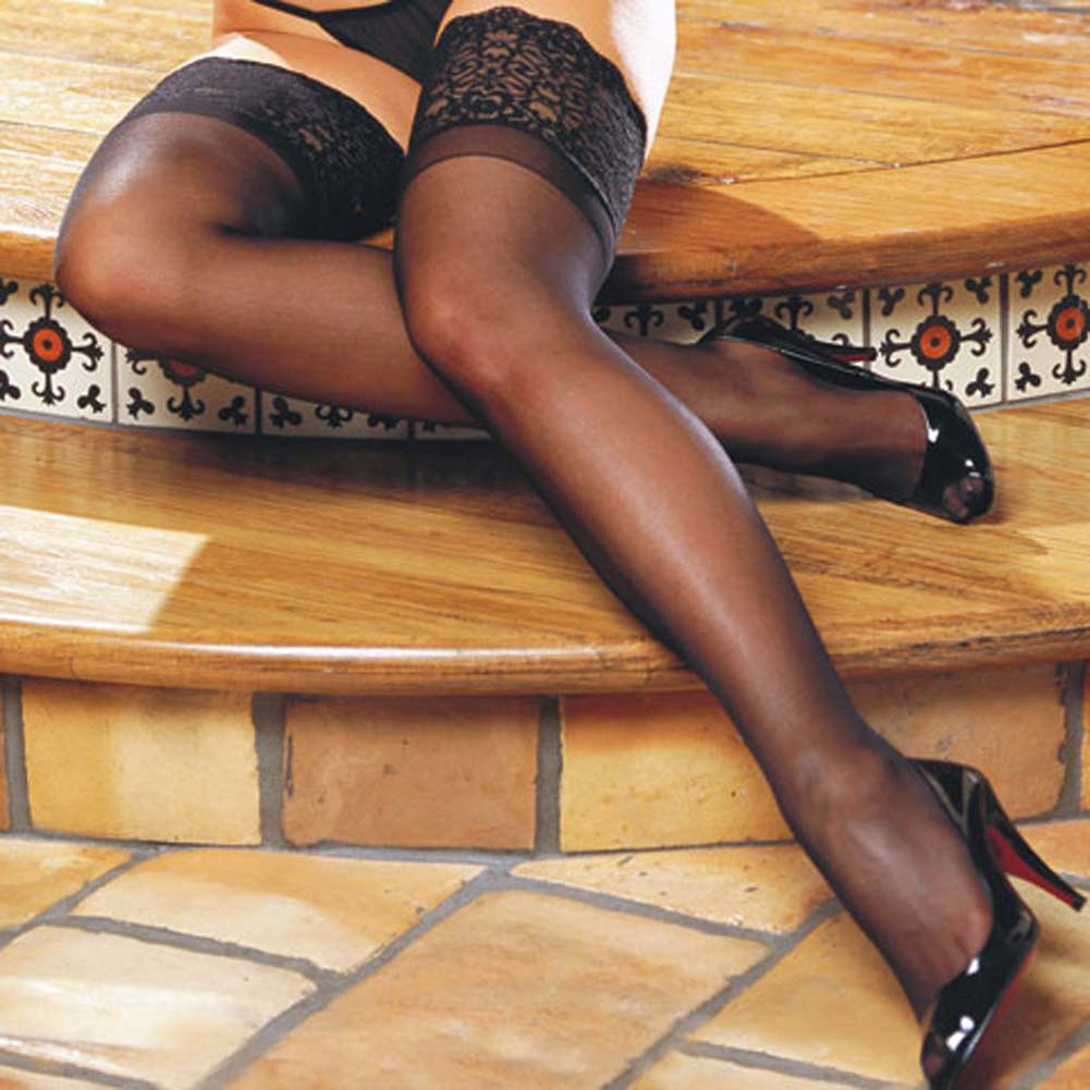 Wide Lace Top Stay Up Sheer Thigh Highs Black - View #3