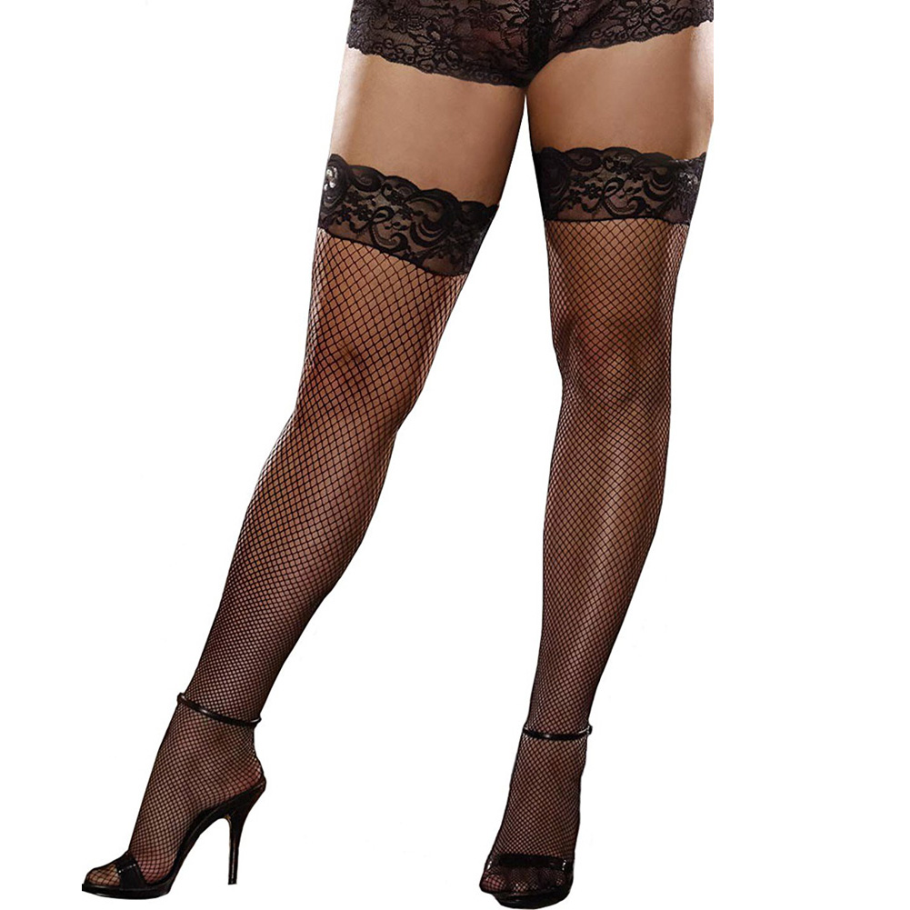 Dreamgirl Fishnet Stay Up Thigh High Stocking with Seams Plus Size Black - View #2