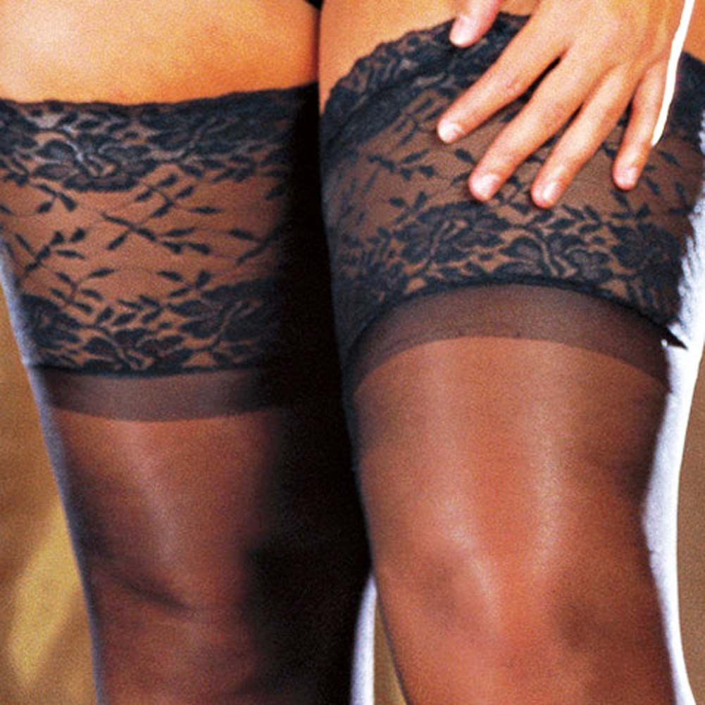 Wide Lace Stay Up Sheer Thigh High Black Plus Size - View #4