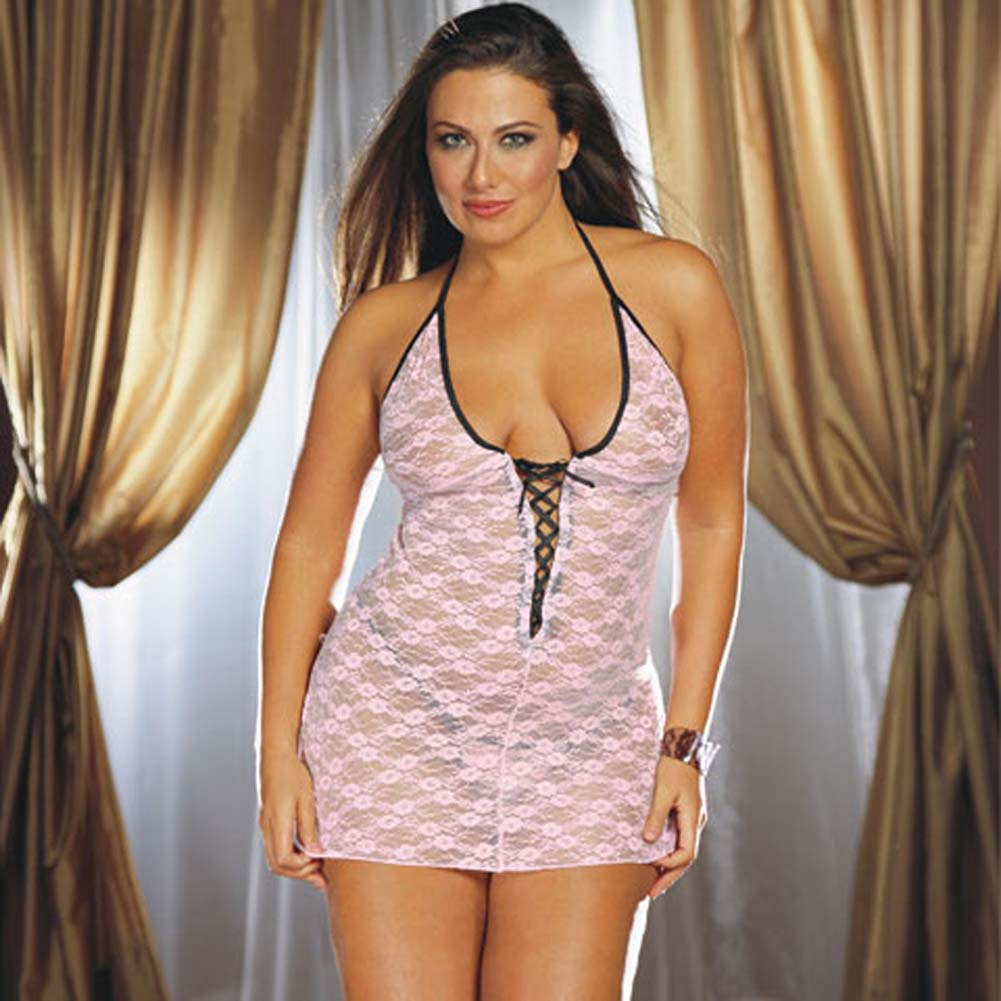 Stretch Lace Babydoll with Thong Style 3901X Pink Plus Size - View #2
