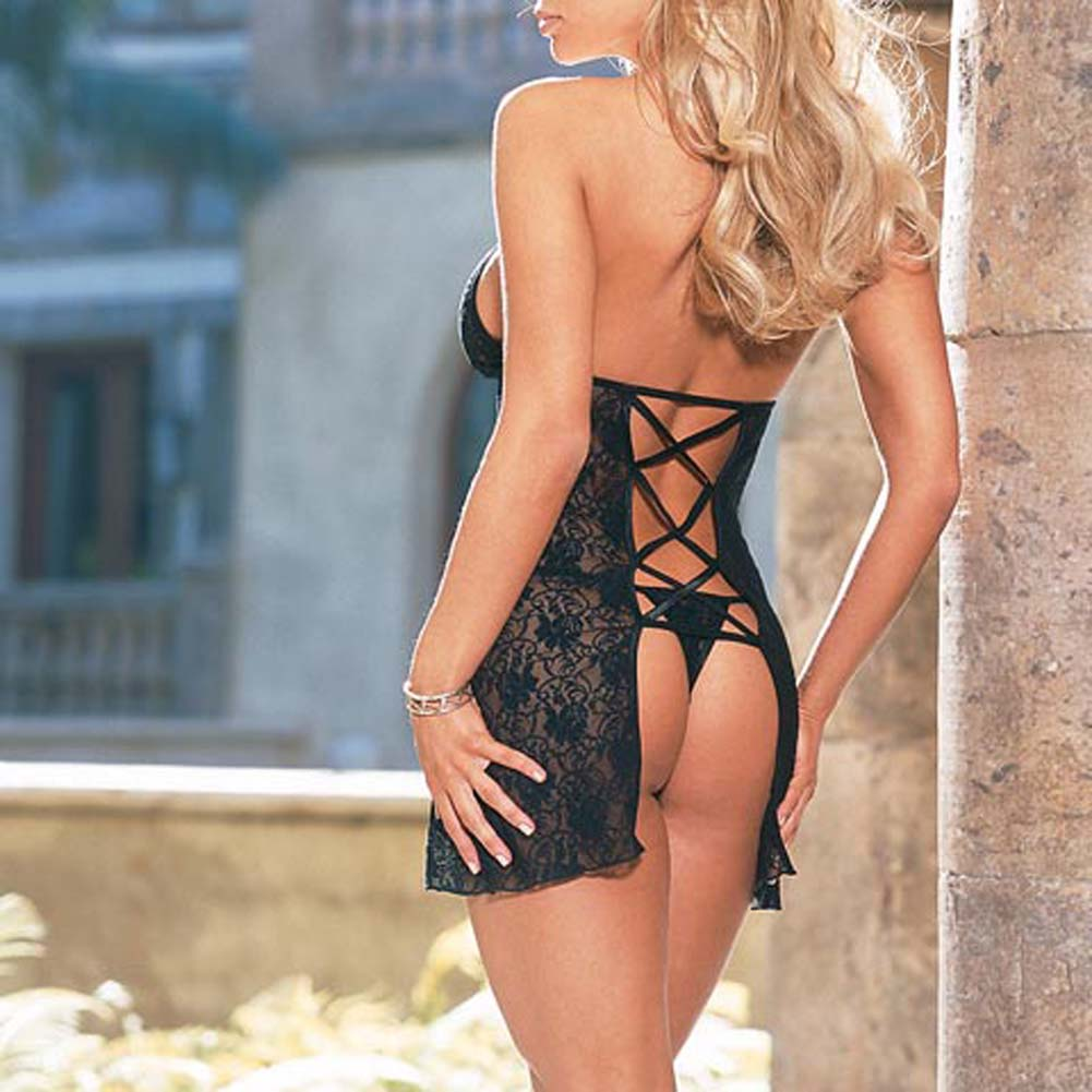 Babydoll with Thong Style 3691 Black - View #3