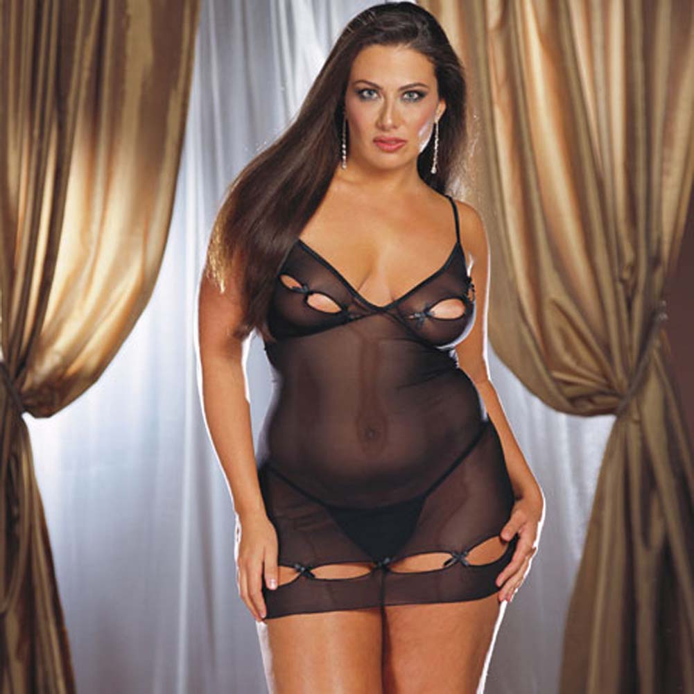 Lycra Net Keyhole Babydoll with Thong Style 3992X Black Plus - View #2