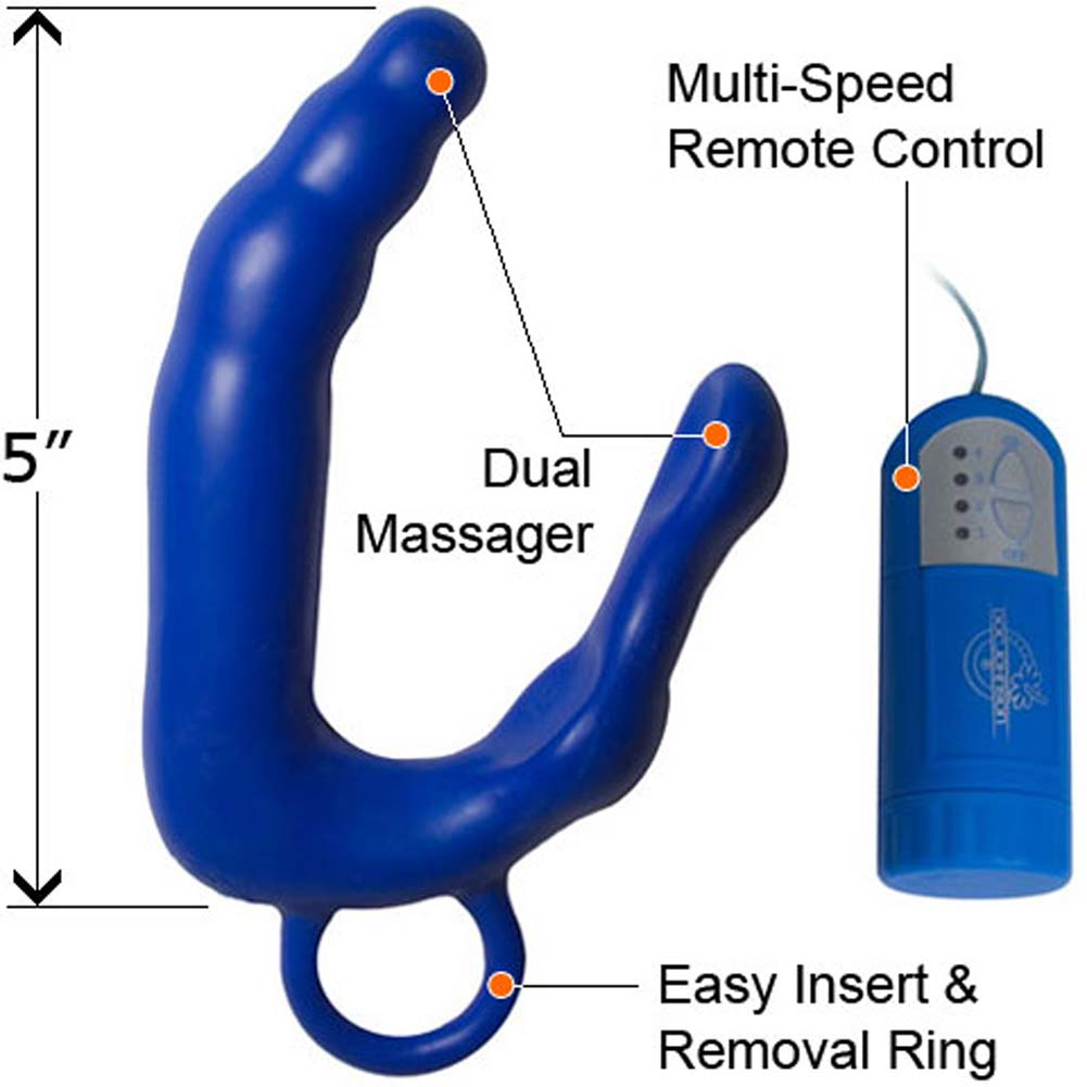 "MenS Waterproof Vibrating Pleasure Wand XL 5"" Blue - View #1"