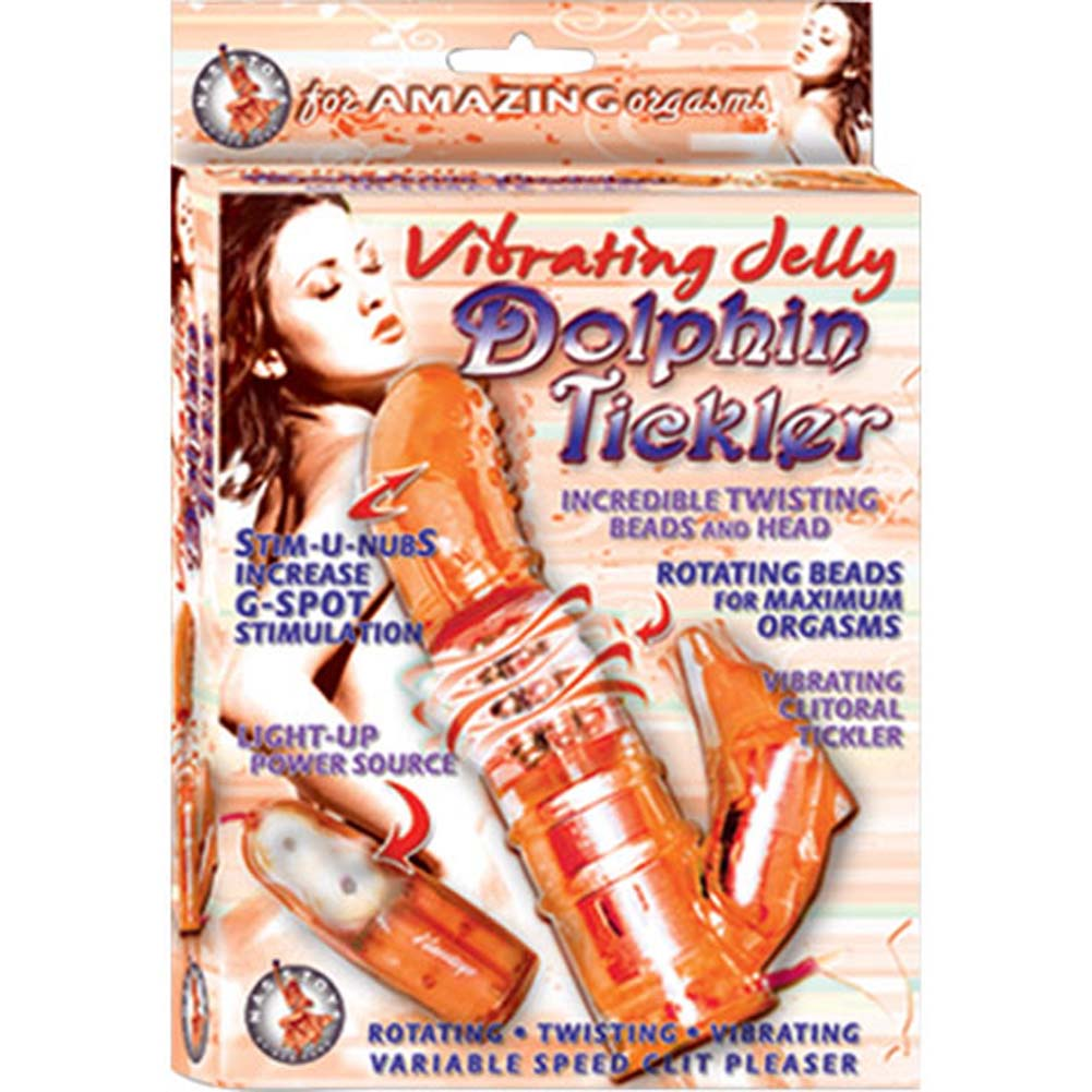 Vibrating Jelly Dolphin G-Spot Tickler Orange 6 In. - View #3