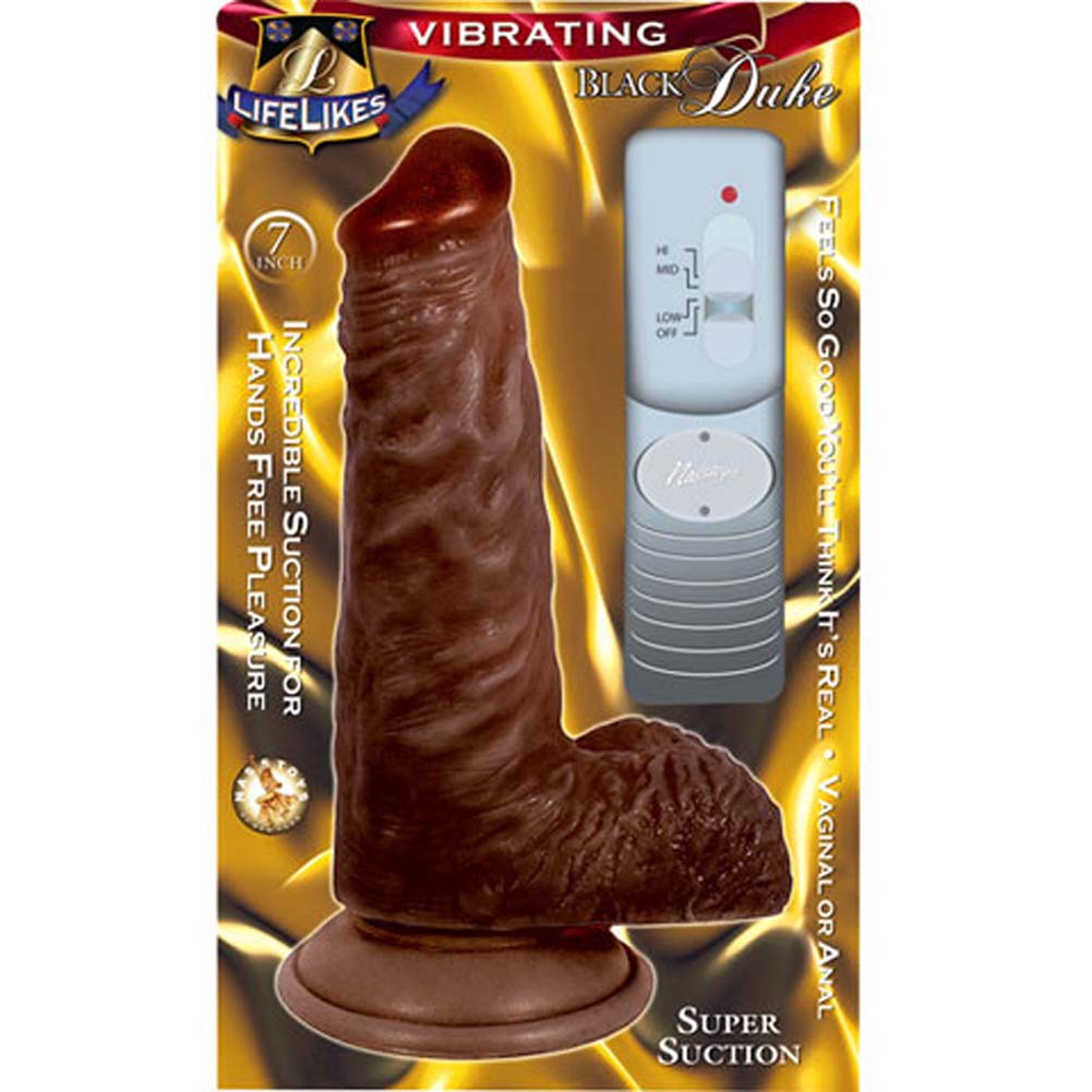 "Nasstoys Lifelikes Vibrating Black Duke Cock with Suction Cup 7.75"" Ebony - View #3"